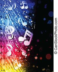 Vector - abstrakte, farbenfrohe Wellen mit Musiknoten