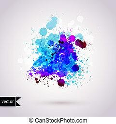 Vector abstrakte Hand gezeichnet Wasserfarben Hintergrund, Vektor Illustration, Fleck Wasserfarben Farben nass auf nassem Papier. Wasserfarbenkomposition für Scrapbook-Elemente.