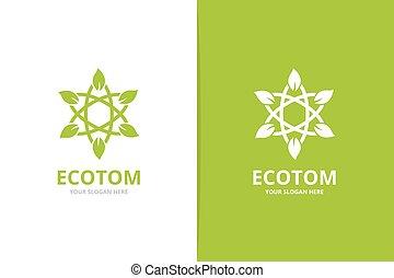 Vector Atom und Blattlogokombination. Einzigartige Naturwissenschaft und organisches Logotype Design Vorlage.