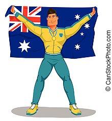 Vector australia Spieler feiern die Meisterschaft. Und die Flagge hissen. Auf isoliert