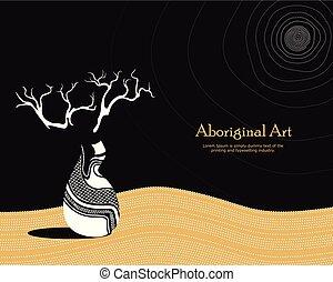 Vector Banner mit Text. Boab (Baobab) Baumvektormalerei.