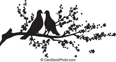Vector - Baum mit Vögeln.
