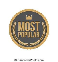Vector beliebtestes Goldzeichen, rundes Label.