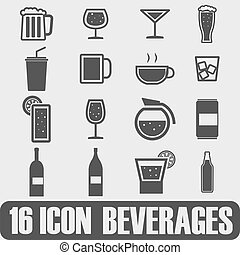 Vector Black Bier und Getränke Icons Set.