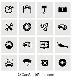 Vector Black Car Service Icons Set.