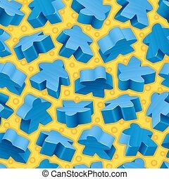 Vector Blue Meeples nahtloses Muster