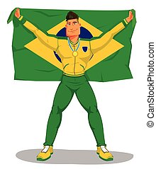 Vector brazil Spieler feiern die Meisterschaft. Und die Flagge hissen. Auf isoliert