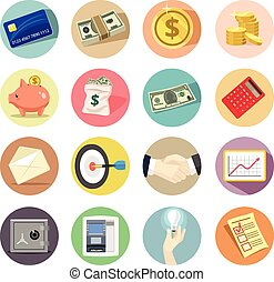 Vector Business Flat Icon Set.