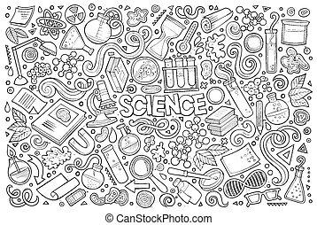 Vector Cartoon Set von Science Theme Objekte und Symbole.