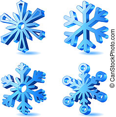 Vector Christmas 3d Schneeflocke Ikonen
