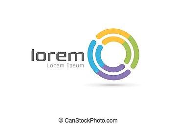 Vector Circle abstrakte Logo-Vorlage. Rundform und Infinity-Symbol, Icon, kreative Idee oder Fluss, Linien. Firmenlogotyp. Stock Illustration.