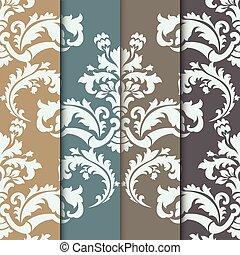 Vector Damask Muster Ornamentset