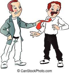 Vector des wütenden Mannes, der die Krawatte des Geschäftsmannes zieht.