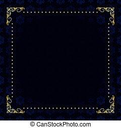 Vector dunkelblaue Karte mit Goldrahmen.