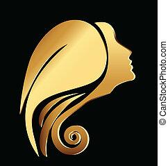 Vector einer Goldfrau steht vor dem Logo