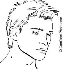 Vector Face Man Sketch. Design-Element