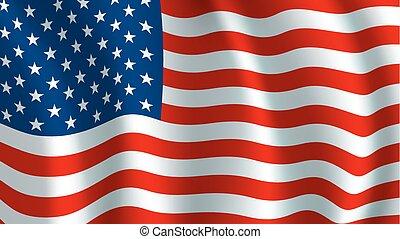 Vector Flagge der USA. Amerikanisches nationales Symbol