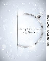 Vector - fröhliche Weihnachten, frohes neues Jahr, Ballsilber mit Sternen und Schneeflocken