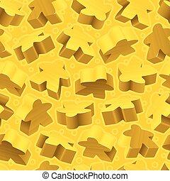 Vector gelbe Meeples nahtloses Muster