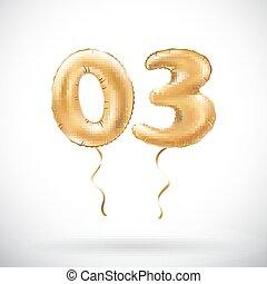Vector Golden Nummer 03 Null drei metallische Ballon. Party Dekoration goldene Ballons. Jubiläumszeichen für glückliche Ferien, Feier, Geburtstag, Karneval, neues Jahr.