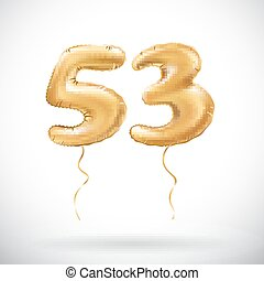 Vector Golden Nummer 53, drei metallische Ballons. Party Dekoration goldene Ballons. Jubiläumszeichen für glückliche Ferien, Feier, Geburtstag, Karneval, neues Jahr.
