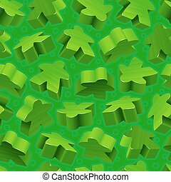 Vector Green Meeples nahtloses Muster
