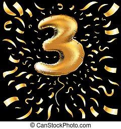 Vector Happy Birthday Gold Nummer drei metallic Ballon. 3 Party Dekoration. Jubiläumszeichen für Urlaub, Feier, Karneval, neues Jahr. Metallischer Designballon.