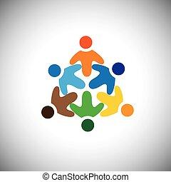 Vector Ikone von glücklichen, aufgeregten, fröhlichen Menschen Kreis
