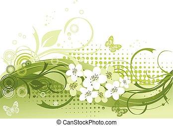 Vector Illustration der grünen Blumen.