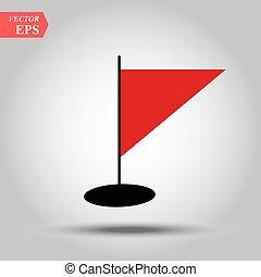 Vector Illustration der roten Dreiecksflagge.
