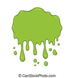 Vector Illustration - grüne Schleimtropfen.