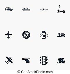 Vector Illustrationen von einfachen Transport Icons. Elemente Kinderaktivität, Flugzeug, Hatchback und andere Synonyme Jet, Automobil und Flug.
