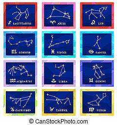 Vector Illustrationskartenkonstellationen der zodiac.eps