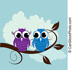 Vector illustriert zwei süße Eule