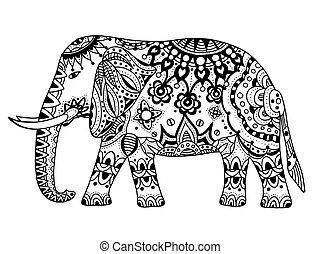 Vector indischer Elefant.