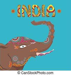 Vector indischer Elefant mit Farbmuster.