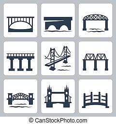 Vector isolierte Brücken Icons gesetzt.