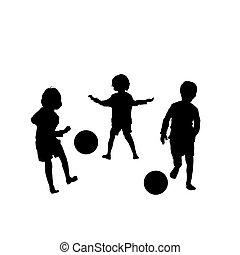 Vector Kinder beim Fußball.