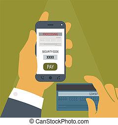 Vector Konzept der mobilen Zahlung auf Smartphone.