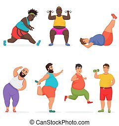 Vector lustige, dicke Männer, die trainieren. Sport-Fitness.