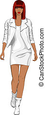 Vector Modeschwarzes Mädchen in einem weißen Lederanzug