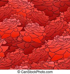 Vector nahtlos Muster, Blumenhintergrund, Rosenköpfe, hellrote Farbe.