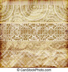 Vector nahtlose Blumen grenzt an kristallklares, goldfarbenes Folienpapier.