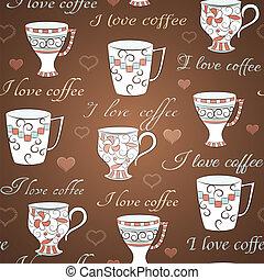 Vector nahtloses Muster, mit dem ich Kaffee liebe