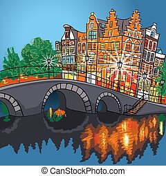Vector night city view of Amsterdam canal and bridge.