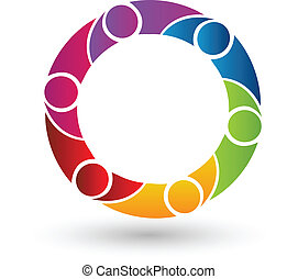 Vector of teamwork people logo.