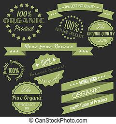 Vector Old Retro-Retro-Anteile für organische natürliche Gegenstände