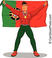 Vector Portugiesenspieler feiern die Meisterschaft. Und die Flagge hissen. Auf isoliert