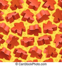 Vector Red Meeples nahtloses Muster