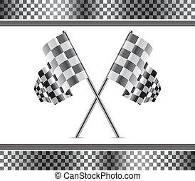 Vector Renn Hintergrund und Flaggen.